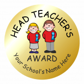 Metallic Gold Head Teacher Award Stickers
