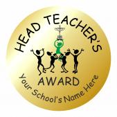 Metallic Gold Head Teacher Award Stickers