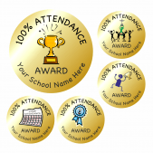 100% Attendance Reward Stickers - Gold