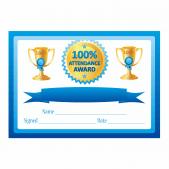 Blue 100% Attendance Certificates
