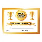 100% Attendance Certificate - Gold