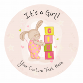 It's a Girl! Announcement Stickers - Blocks Design
