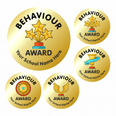 35mm Metallic Gold Behaviour Award Stickers