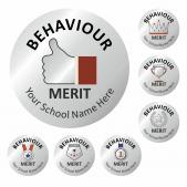 Metallic Silver Behaviour Stickers