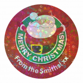 Sparkly Customisable Red Santa Christmas Stickers