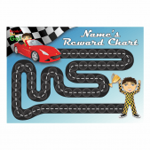 A4 Customisable Racing Car Reward Chart with matching 19mm stickers