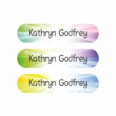 Pencil Name Stickers - Rainbow Starburst