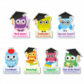 Headteacher Studious Owl Custom Shape Stickers
