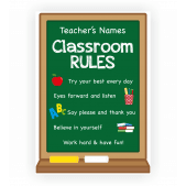 Classroom Rules Poster with custom teacher name and rules - Matte