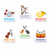Music Custom Shape Stickers