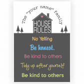 House Rules Poster with custom name and rules - Glossy