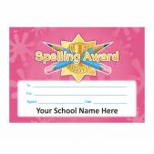 Spelling Award Gold Star Certificate