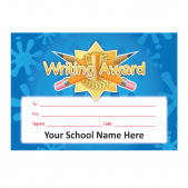 Writing Award Gold Star Certificate