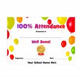 100% Attendance Award Certificate- Balloons