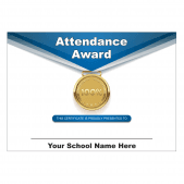 100% Attendance Medal Award Certificate Set
