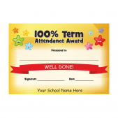 100% Term Attendance Stars Award Certificate Set