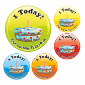 Happy 1st Birthday Stickers - Birthday Cake