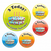 Happy 3rd Birthday Cake Praise Stickers