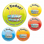 Happy 7th Birthday Cake Praise Stickers