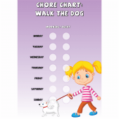 Girls Chore Chart 'Walk the Dog'