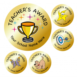 Teachers Award Stickers - Metallic Gold