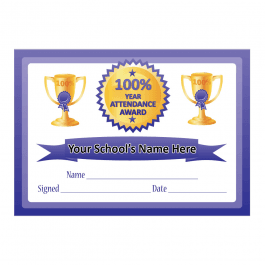100% Year Attendance Certificates