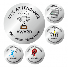 An image of 97% Attendance Silver Stickers