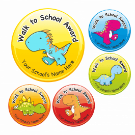 Walk To School Dinosaur Stickers