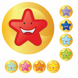 Mini Smiley Multi Star Stickers