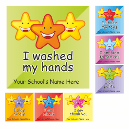 An image of Nursery Learning Square Stickers Medium Pack