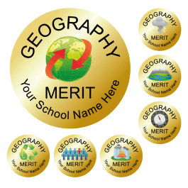 An image of Geography Reward Stickers - Metallic Gold - Value Pack