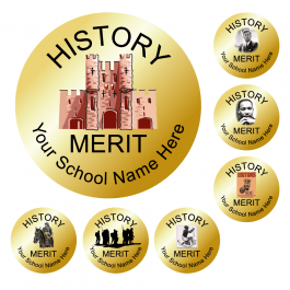 An image of History Reward Stickers - Metallic Gold - Value Pack