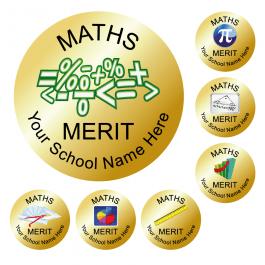 An image of Maths Reward Stickers - Metallic Gold - Value Pack