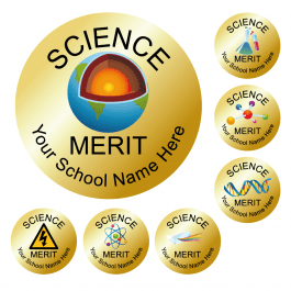 An image of Science Reward Stickers - Metallic Gold - Value Pack