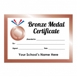 Sports Day Bronze Medal Certificates