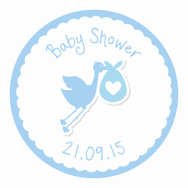 Stork Baby Shower Stickers - Blue