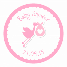 Stork Baby Shower Stickers - Pink