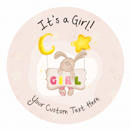 It's a Girl! Announcement Stickers - Stars Design