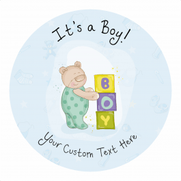 Its a Boy Announcement Stickers - Blocks Design