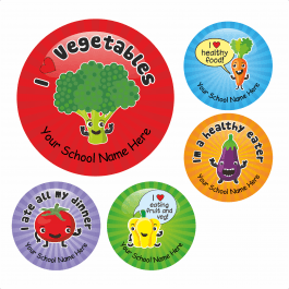 An image of Talking Vegetable Lunchtime Stickers - Small Pack