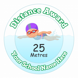 Swimming Distance Award Stickers - 25 Metres - Girls