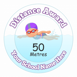 Swimming Distance Award Stickers - 50 Metres - Girls