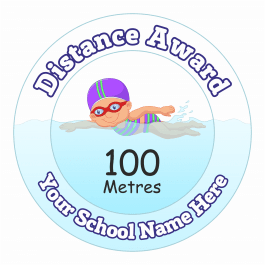 Swimming Distance Award Stickers - 100 Metres - Girls
