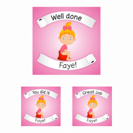 25mm Pink Girls Potty Training Square Praise Reward Stickers Set