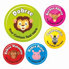 35mm Polish Language Animal Praise Reward Stickers