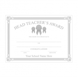 Head Teacher's Silver Award Certificate Set