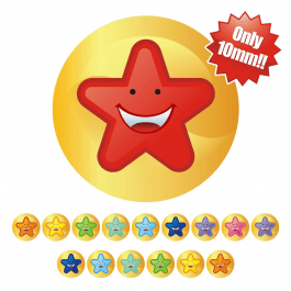 An image of 10mm Mini Multi Smiley Star Stickers