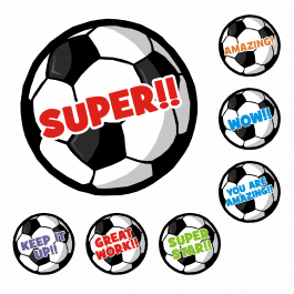 Soccer 25mm Praise Stickers