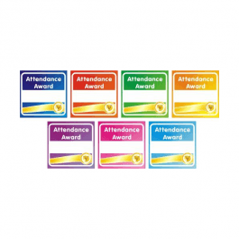 An image of 140 Attendance Award Square Stickers Large Pack