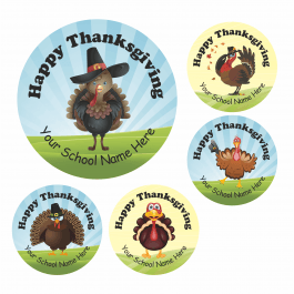Happy Thanksgiving Turkey Stickers